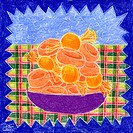 A drawing of a bowl of butterscotch candy