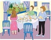 An illustration of a family eating breakfast together