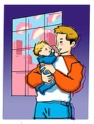 A father holding his baby son affectionately (thumbnail)