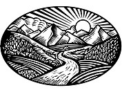Oval shaped nature scene of mountains, hills and stream, black and white (thumbnail)