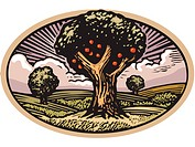 Oval shaped scene with apple tree in orchard