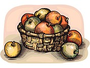 A pictorial illustration of a basketful of apples
