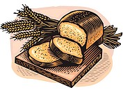 Sliced fresh bread and wheat stalks on a bread board