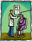 Optometrist checking a womans eyes