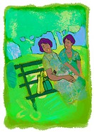 Two women sitting and chatting on a park bench