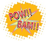A powerful explosion projecting bam! pow! loud noises