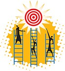three people climbing up to reach a target