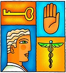 A graphic representation of a doctor, key, caduceus and hand