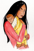 A woman carrying her infant baby