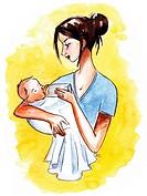 A mother bottle feeding her infant