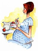 A pregnant woman eating cereal (thumbnail)