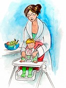 A mother seating her baby in a high chair