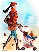 A woman pushing a stroller in autumn