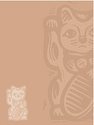 Lucky cat on beige (thumbnail)