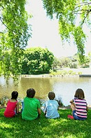 Group of children (9-12) in park, sitting on grass by lake, rear view