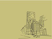 An illustration of highrise buildings