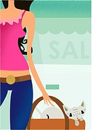 A woman shopping at a summer sale (thumbnail)