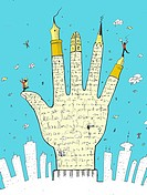 A hand with fingers made of writing instruments