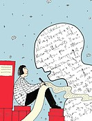 A person writing beside a large head made of words, ghostwriter (thumbnail)