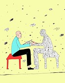Man talking to a person made of words