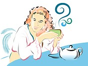 Illustration of a woman relaxing with a cup of tea