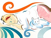 Illustration of a woman napping next to her cat