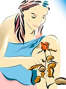 Illustration of a woman smelling a rose