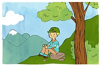 A boy sitting on a hillslope
