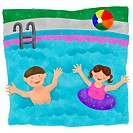 Two kids playing in the swimming pool