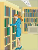 A librarian arranging books on the shelves (thumbnail)