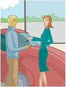 A woman giving her car key to a man