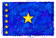 Drawing of the flag of Democratic Republic of the Congo