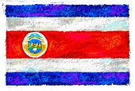 Drawing of the flag of Costa Rica
