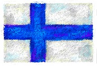Drawing of the flag of Finland