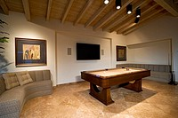 Sofas and Pool Table in Game Room