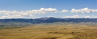 USA, Wyoming, Sheridan, Bighorn Mountains and landscape, aerial view