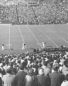 Crowd of people on stadium before football match (B&W), elevated view