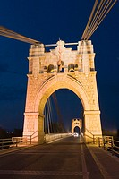 Bridge over Ebro river at night, Amposta. Tarragona province, Catalonia, Spain