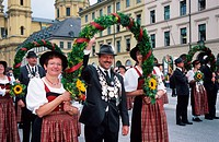 People, in, traditional, clothes, at, Public, Festival, ´Oktoberfest´, Munich, Bavaria, Germany, München,