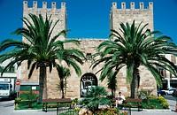 City, Gate, Alcudia, Sierra, de, Tramuntana, Majorca, Balearic, Islands, Spanien, Serra, de, Tramuntana,