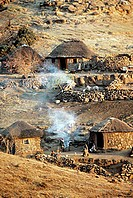 Thatched huts in Lesotho, Africa.