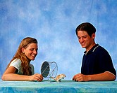 Boy, and, girl, with, Gerbil, Meriones, unguiculatus