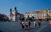 Church, St., Niklas, at, old, town, square, Prague, Czechia