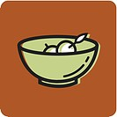 Illustration of a bowl of fruit on an orange background