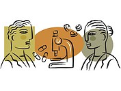 Illustration of workers at a pharmaceutical company