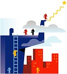 An illustration of employees climbing the corporate ladder