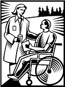 A doctor talking to a patient in a wheelchair in black and white