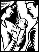 A black and white drawing of parents and infant