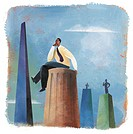 A businessman sitting on top of a column