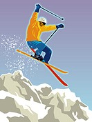 An skier skiing down a slope